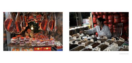 Page 62: Markets - Meat stall, Page 63: Assorted Chinese herbs