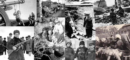 Pages-158-159: Collage of children in the USSR during WWII