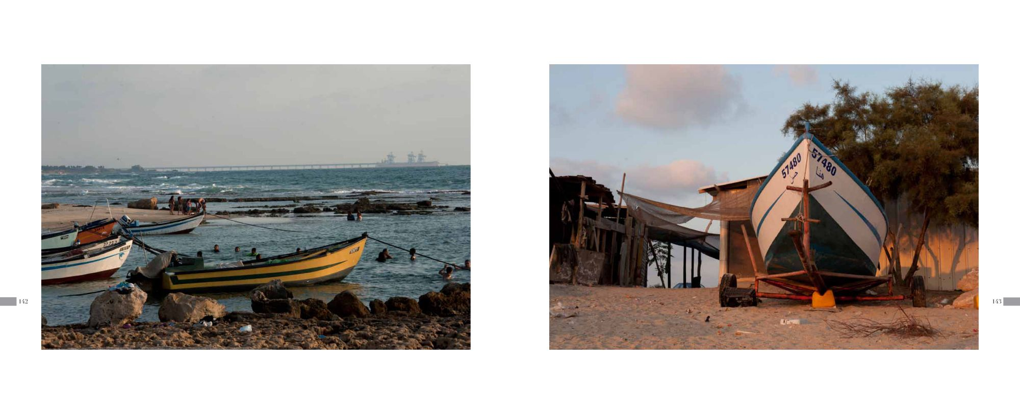 Page 142: Jisser a-Zarka - Fishing boats in the Sea / Page 143: Jisser a-Zarka - Fishing boat on Land
