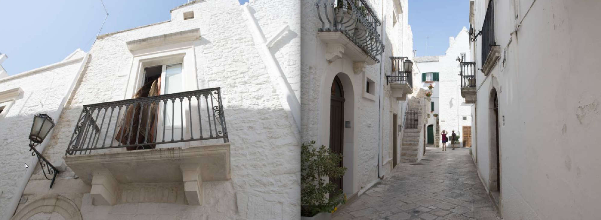 Puglia Album - Page 28: An open door to a balcony – Page 29:  An ally flanked by white walls