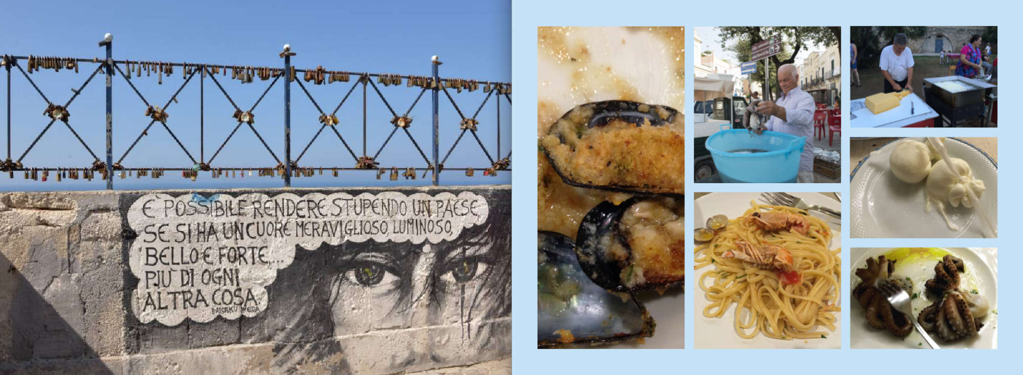Puglia Album - Page 72: A porta fortuna script – Page 73: An assortment of delicious foods from Puglia