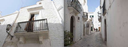 Puglia Album - Page 28: An open door to a balcony - Page 29:  An ally flanked by white walls