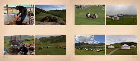 Pages: 170 & 171 Scenes from the Mongolian Alps; yaks and yurts