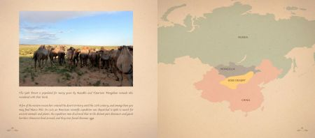 Page 180: A herd of Bactrians (two-humped camels) / Page 181: The Gobi Desert (map)
