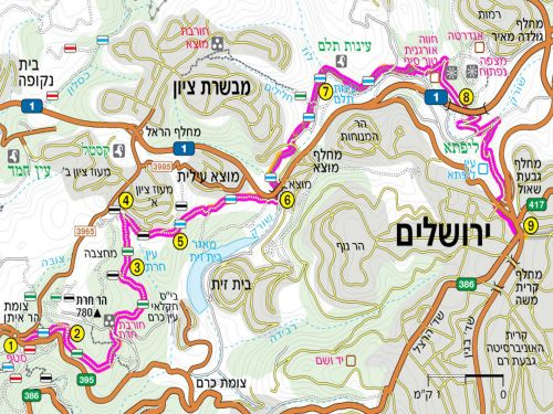 Map of Day 1. Jerusalem Trail