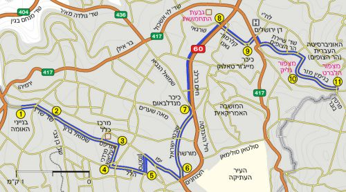 Map of Day 2. Jerusalem Trail
