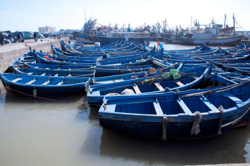 Morroco: Essaouira; Boats in the harbor
