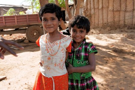 Children of the World: India; Two sisters in the yard