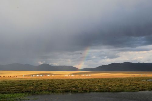 Landscapes/Grasslands & Savannas - Song Köl Lake shore, Naryn Province, Kyrgyzstan:  Rainbow and yurts on the Highland Steppes