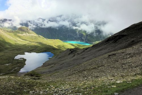 Landscapes/Mountains - Switzerland, Pennine Alps: Panoramic view of Barrage Moiry between Colle Sorbois and Sage Col Torrent