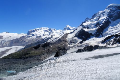 Landscapes/Mountains - Switzerland, Zermatt: Plateau Rosa - glacier with small seasonal lake