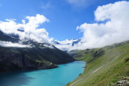 Landscapes/Mountains - Switzerland, Grimentz: Lac de Moiry, its beautiful turquoise waters framed by green hillsides