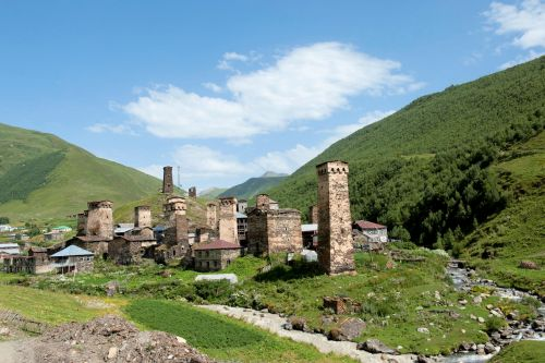Landscapes/Mountains - Enguri gorge Svaneti Region, Georgia: The Towers of Ushguli