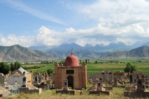 Landscapes/Mountains - Kirghizstan:  Mausoleum and Muslim cemetery a beautiful mountain valley