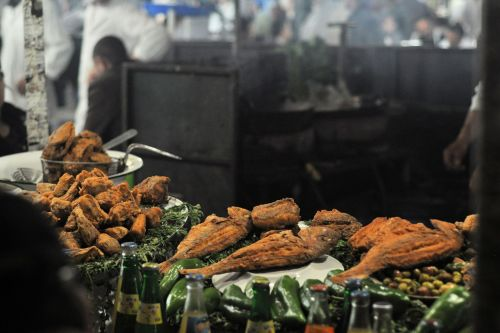 Markets: Fish & Meat - Marrakesh market, Morocco: Fried fish ready for sale
