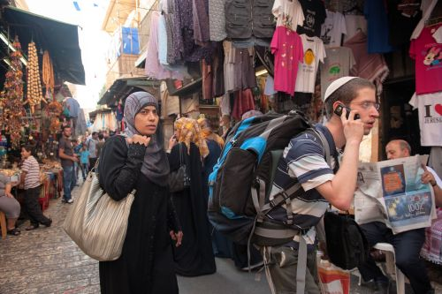 Markets-Patrons & Punters - Old City market, Jerusalem, Israel: An urgent call or some trivial shopping