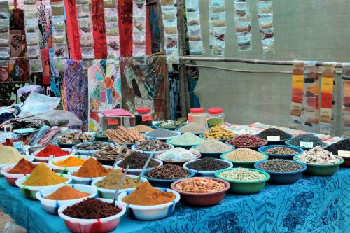 Markets-Products - Kochin market, India: A display of spices