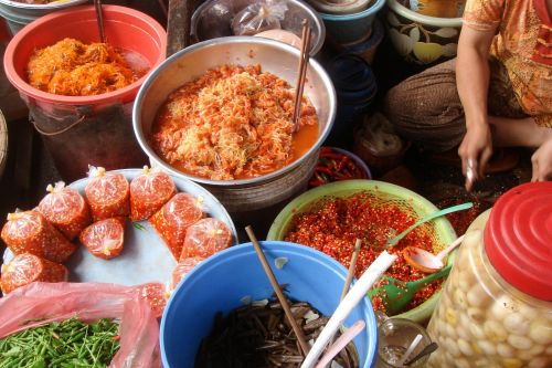 Markets-Products - Hanoi market, Vietnam:  Marinated red peppers