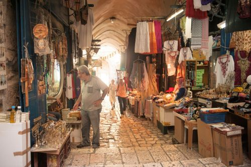 Markets-Products - Old City market, Jerusalem, Israel:  Selling religious items