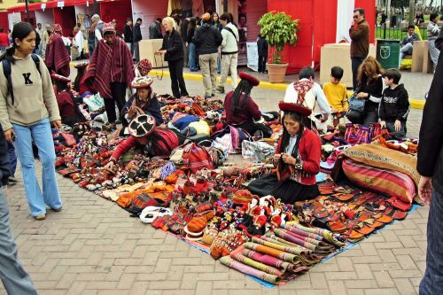 Markets-Products - Tarapoto, San Martin, Peru: A small market selling arts & crafts made by women