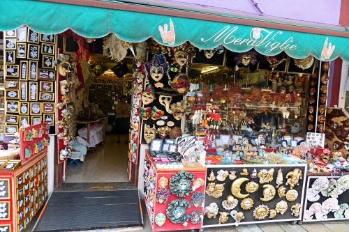 Markets-Products - Venice, Italy: Shop selling all kinds of masks for carnival
