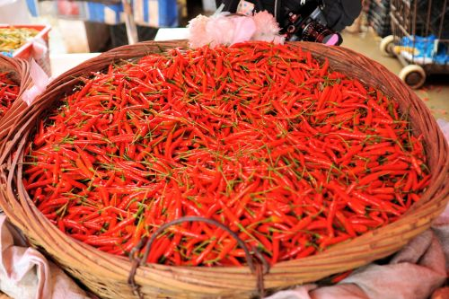 Markets: Fruit & Veg - Shizong market, Qujing, Yunnan, China: A basket of red hot chili peppers