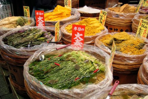 Markets: Fruit & Veg - Tokyo market, Japan:  Japanese pickled vegetables