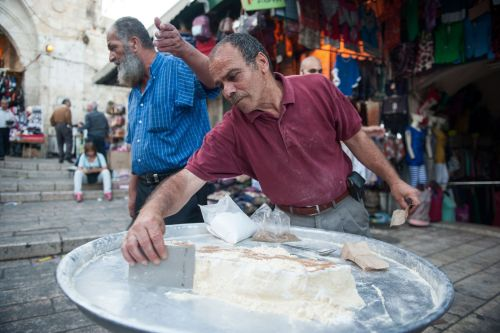 Markets-Vendors - Old City market, Jerusalem, Israel: Preparing Kanafah (Arabic: كنافة‎‎)