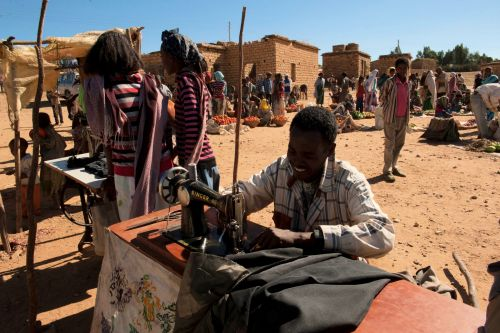 Markets-Vendors - Harar market, Ethiopia: Tailor in the market square