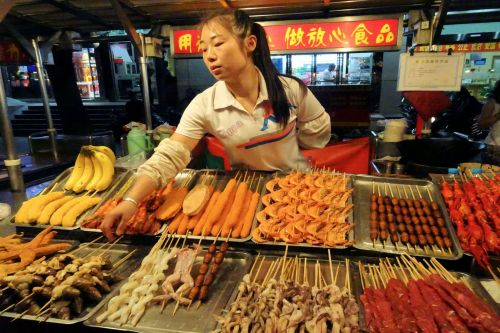 Markets-Vendors - Night market, Beijing, China: Anything on a skewer?