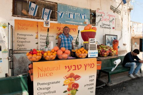 Markets-Vendors - Safed (Hebrew: צפת, Zfat), Israel: The Beit Yossef Fruit Juice stand