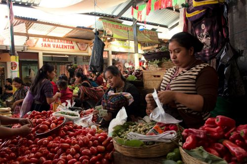 Markets-Vendors - Almolonga market, Guatemala:  Women vendors working