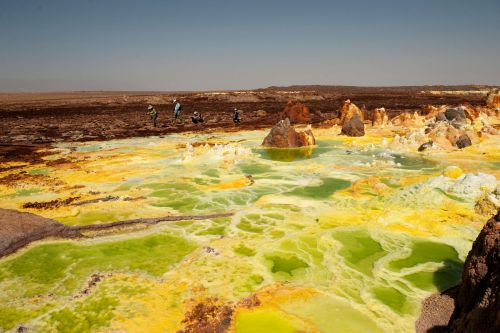 Living-Natue: The Mineral Kingdom - Ethiopia, Danakil Depression: Volcanic activity creates pools of sulfur