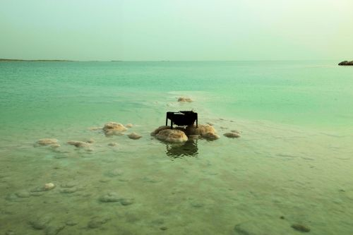 Living-Natue: The Mineral Kingdom - Israel, Dead Sea:  An abandoned barrel grill gathers salt