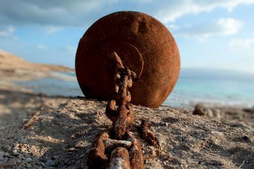 Living-Natue: The Mineral Kingdom -  Israel, Dead Sea, Ein Gedi:  A study in corrosion -  Rusty cain and ball