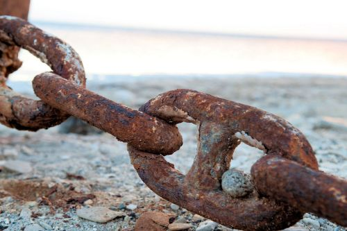 Living-Natue: The Mineral Kingdom -  Israel, Dead Sea, Ein Gedi:  A study in corrosion - Rusty links