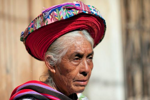 Old-Age – Chichicastenango, Guatemala: Traditionally dressed Guatemalan woman at the local market