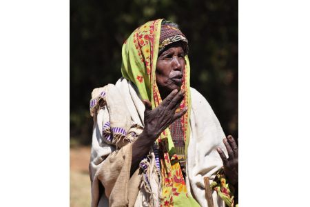 Faces of Ethiopia:An elderly woman in tribal dress