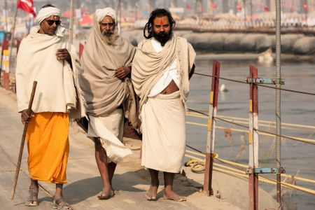 Faces of India: Three friends arriving to the Kumbh Mela festivities in Allahabad