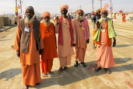 Faces of India: Allahabad; a group of old men at the Kumbh Mela festivities