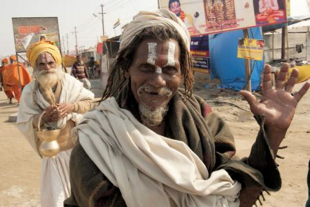 Faces of India: Allahabad;  greeted by a Sadhu