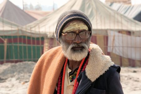 Faces of India: Allahabad;  Reflective Sadhu