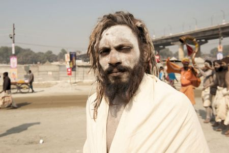 Faces of India: Allahabad; Serious Sadhu in snow-white