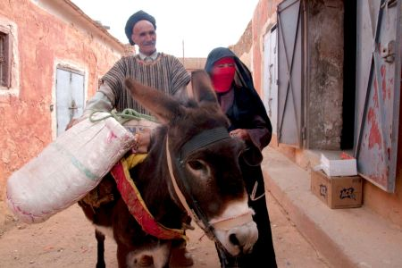 Faces of Morocco: Bringing produce to the market – man, woman and donkey
